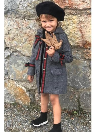 Riccotarz Kız Çocuk Gold Düğmeli Füme Kaşe Kaban Renkli